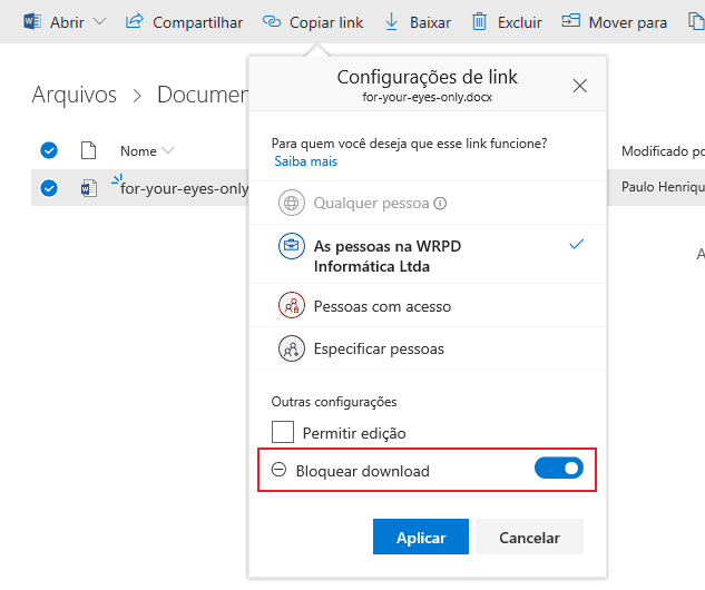 Bloqueando o download no OneDrive for Business